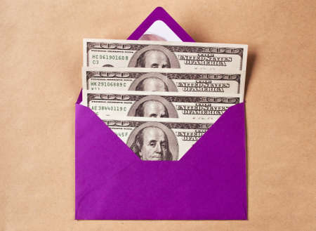 Four hundred dollars in a purple envelope as a gift