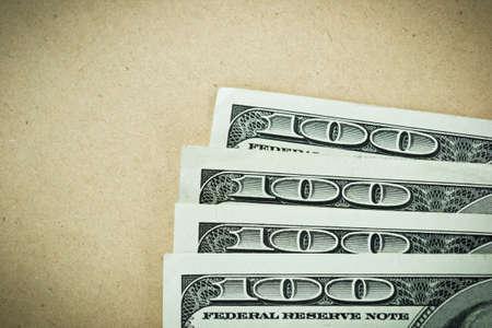 Four hundred dollars closeup on paper, top view Фото со стока