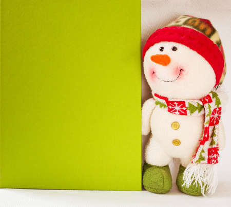 Christmas banner, winter background with snowman