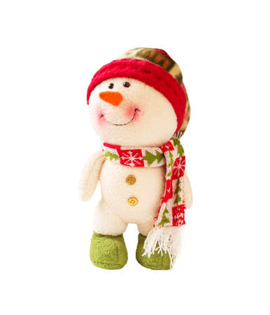 Cute snowman in hat and with scarf isolated on white background