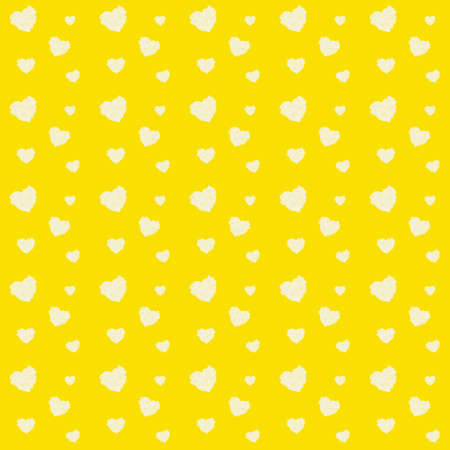 Valentines day pattern with many hearts from white rose petals on yellow background