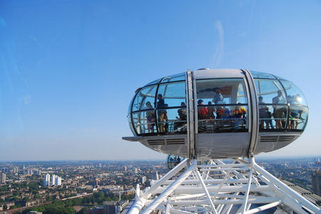London, United Kingdom - July 22, 2014: The London eye - Europes tallest Ferris wheel and most popular tourist attraction in London