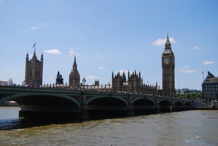 London, United Kingdom - July 22, 2014: Typical summer day in London, tourists walking on Westminister bridge