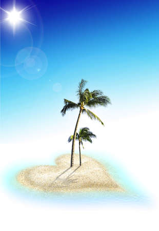 Nice romantic heart isleand with two coconut trees Stock Photo - 5099083