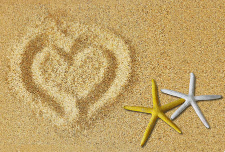 valentine day cup of coffee: Heart on the sand where met they