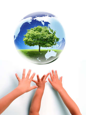 Nice picture with Earth and babies hands photo