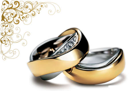 Nice shining wedding rings for your wedding design Stock Photo