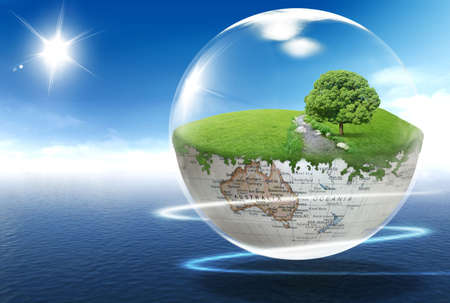 A globe with tree and river on the blue shining sky background