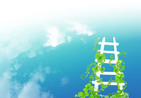 White long stairs on the blue sky background photo