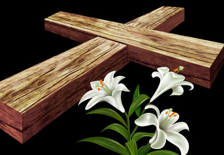 White three flowers with a brown cross photo