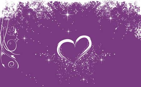 shinning: White heart on the purple background Stock Photo