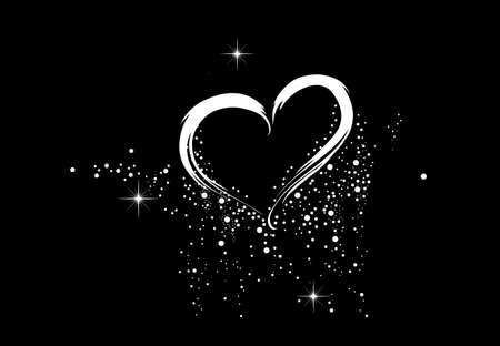 White heart on the black background Stock Photo