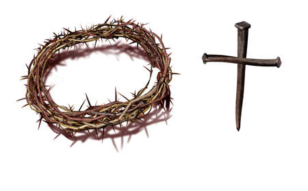 A nice combination with cross which consists nails Stock Photo