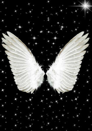 Nice big white angels wings in the night photo