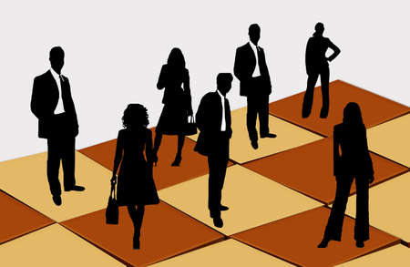 gamesmanship: Here are businessmen and businesswomen on the chess