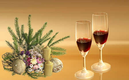 Here you can see two glasses on the nice christmas background photo