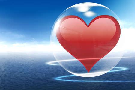 interactions: Hier kan je mooie rode hart in bubble  Stockfoto