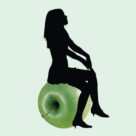 Combination with sitting girl on a green apple