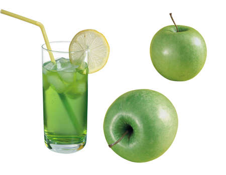 Combination with a green apple