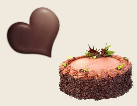 Love story with a heart and tasty cake