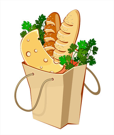 greengrocery: Paper bags with bread, cheese and greengrocery Illustration