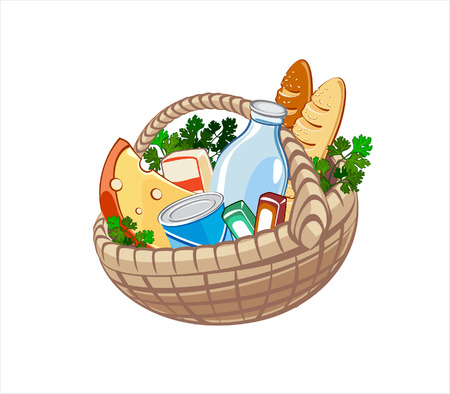 Wicker basket with dairy products, bake and other food Illustration