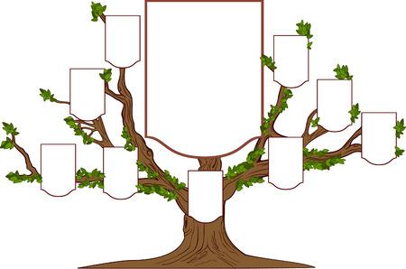 空のエンブレムと家族の枝の多い木