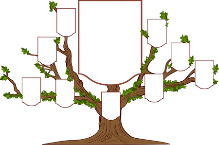 old family: Family branchy tree with empty emblems