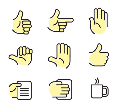 Icon set with hands on different position Stock Vector - 9523696