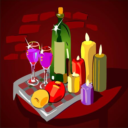 dinner party table: Dinner for two with wine and candles