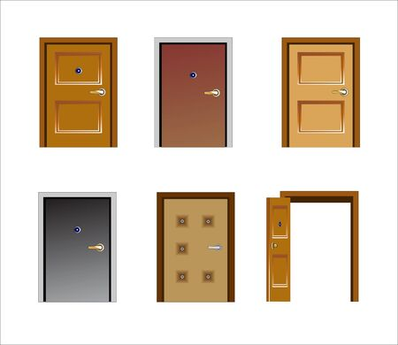 Vector illustration of  several kinds of doors