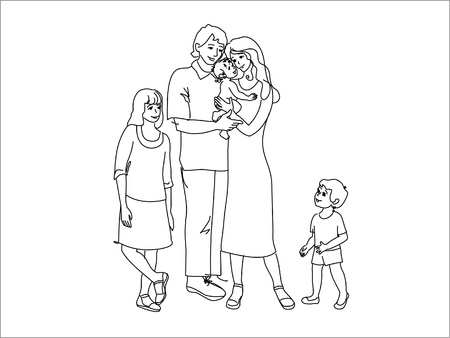 two parent family: Line drawing of the family Illustration
