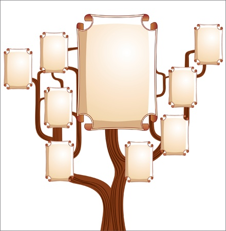 Family branchy tree with empty emblems Vector