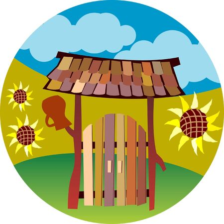Illustration of wooden gate in country style Illustration