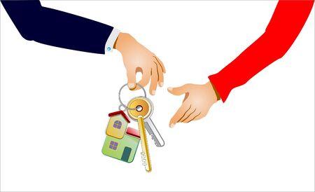 新しい家に鍵を受信  イラスト・ベクター素材