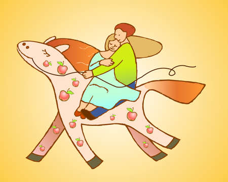 loving couple on the riding horse Vector