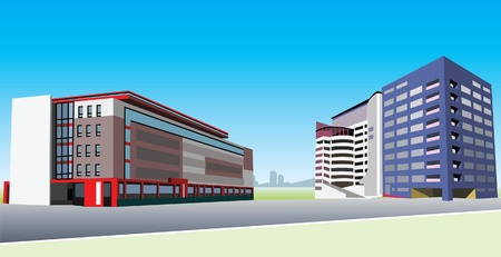 exteriors: office buildings Illustration