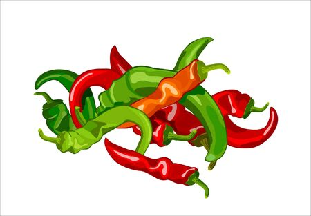 hot pepper: harvest of red and green hot peppers