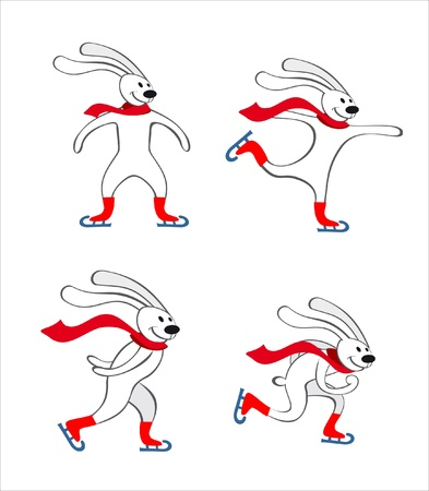 rabbits Skating Illustration