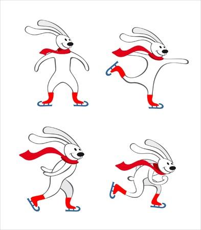 rabbits Skating Illusztráció