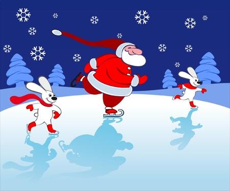 Santa and bunnies Skating