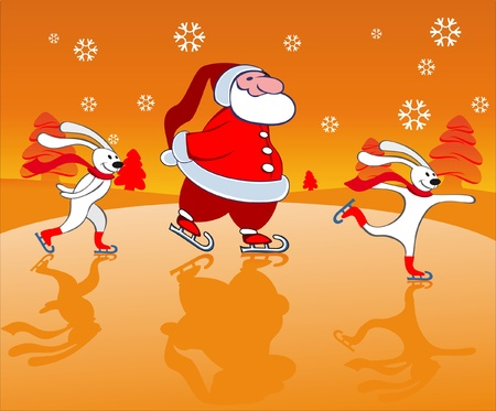 Santa and bunnies Skating