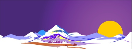 Stylized vector illustration of mountains Vector