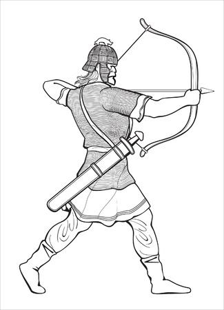 running warrior viking shooting archery Stock Vector - 9719304