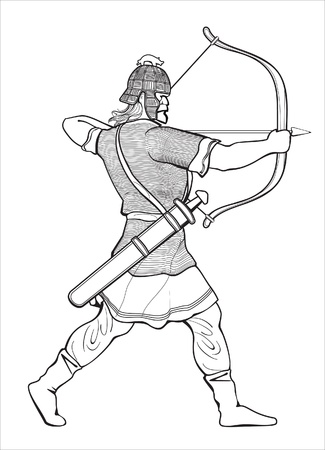 the archer: running warrior viking shooting archery Illustration