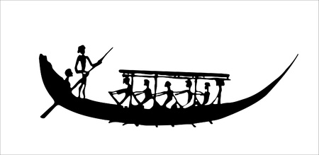 rowing boat: Vector ancient boat Illustration