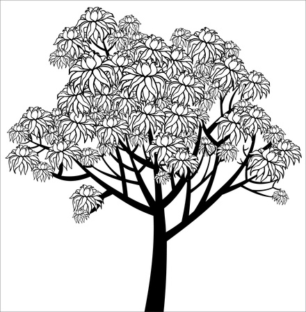Vector graphical drawing of young flowering tree Illusztráció