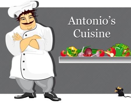 Cuisinière Vector cartoon debout contre le fond de sa cuisine Vecteurs