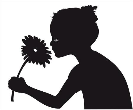 Girl smelling flower vector silhouette Illusztráció