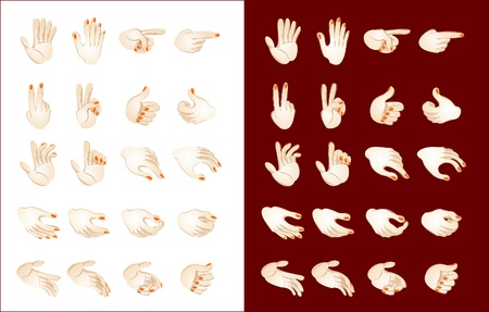 Stylized vector drawing of different hand position Ilustrace